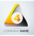 Number four logo symbol in the colorful triangle vector image vector image