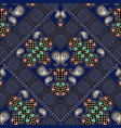 paisley seamless pattern dark blue floral vector image