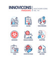 pandemic - line design style icons set vector image vector image