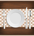 Plate with spoon khife and fork on a wood table vector image vector image