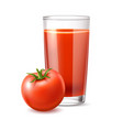 realistic tomato juice in glass ripe vector image