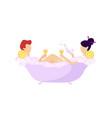 romantic couple drinking wine in bubbled bathtub vector image