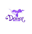 silhouette beauty dancer logo template with vector image