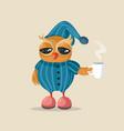 sleepy owl wearing pajamas holding coffee mug vector image