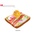 smorrebrod with roast pork the national dish of de vector image vector image
