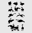 Swans Silhouettes Set vector image
