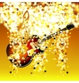 treble clef in the cloud of stars and jazz guitar vector image vector image