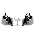 two businessmen sitting on sofa vector image vector image