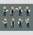 waiter wearing uniform holding a dish of vector image vector image