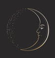waxing crescent moon with a face handsome young vector image vector image