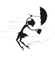 windy day and woman with umbrella silhouette vector image vector image