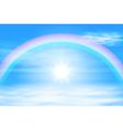 Sun in a the sky with rainbow vector image