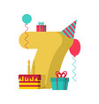 1 year happy birthday greeting card 1th vector image vector image