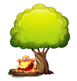 A scary orange monster under the tree vector image vector image