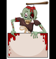 A zombie with an empty signboard vector image vector image