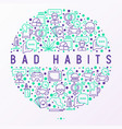 bad habits concept in circle with thin line icons vector image vector image