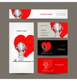 Business cards design Girl draws red heart vector image vector image