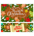 christmas tree gifts and mistletoe with scroll vector image vector image
