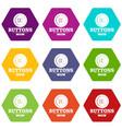clothes button textile icons set 9 vector image vector image