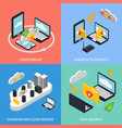 cloud office concept icons set vector image vector image