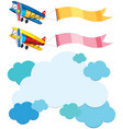cloud template and two airplanes with flags vector image