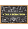 collaboration on chalkboard vector image vector image