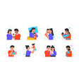 collection of happy families with their newborn vector image vector image