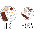 Comparing of His and Hers Breakfast vector image vector image