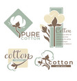 cotton plant isolated icons pure and organic vector image vector image