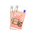 couple of simple fifty euro banknotes on white vector image vector image