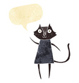 cute cartoon black cat waving with speech bubble vector image vector image