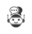 cute robot chatbot icon in flat style bot vector image