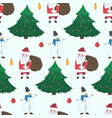 doodle christmas pattern with snowmen and santa vector image vector image