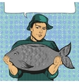 fisherman holding big fish vector image vector image