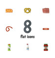 flat icon food set of bratwurst packet beverage vector image vector image