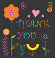 floral cute card thank you vector image