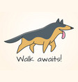 funny cute cartoon german shepherd dog vector image vector image