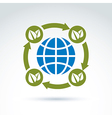 Globe with leaves rotating icon circulation vector image vector image