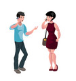 guy and girl chatting by smartphones vector image vector image