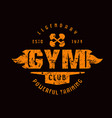 gym club emblem graphic design for t-shirt vector image vector image