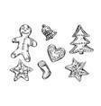 hand sketch christmas cookies vector image