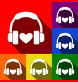 headphones with heart set of icons with vector image vector image