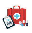 hospital prescription pill capsule suitcase icon vector image vector image