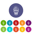 ice cream in waffle cup icon outline style vector image