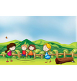 Kids playing jumping rope at the bridge vector image vector image