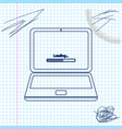 Laptop update process with loading bar line sketch