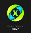 letter x logo symbol in the colorful circle vector image vector image