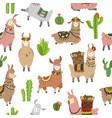 llama seamless pattern ballamas cute alpaca vector image