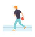 man throwing bowling ball male bowler playing vector image