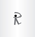 man walking black icon letter r logo vector image vector image